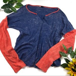 Volcom Acid Wash Jersey Knit V Neck Tee